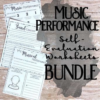 Music Performance Self-Evaluation Worksheets Bundle